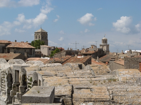arenas: Provence city of Arles - view from the top of the roman arenas