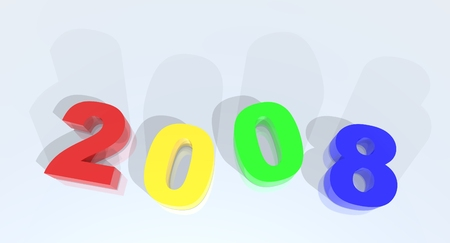 a 3d rendering to illustrate the new year 2008 Stock Photo - 1614181