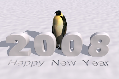 a 3d rendering to illustrate the new year 2008
