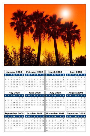 a calendar with a nice picture for the new year 2008 photo