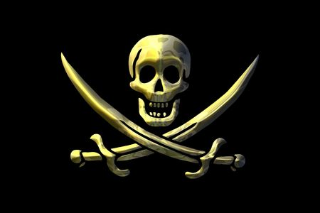 skull and swords over a black background Stock Photo - 1799044