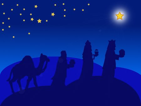 a blue illustration of the Magi for christmas Stock Photo