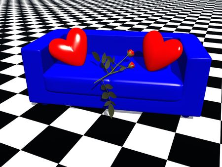 a 3d rendering of a a blue sofa with hearts-cushions and a rose photo