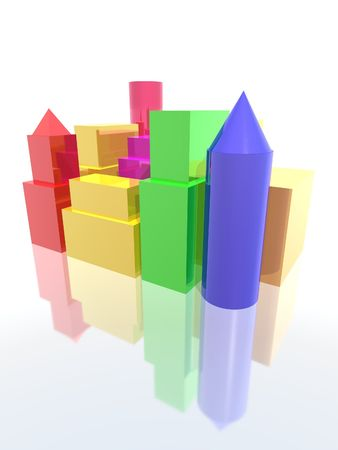 a 3d rendering of a city with colored buildings Stock Photo - 1809200