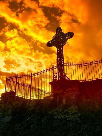 christendom: a calvary iunder an orange sky