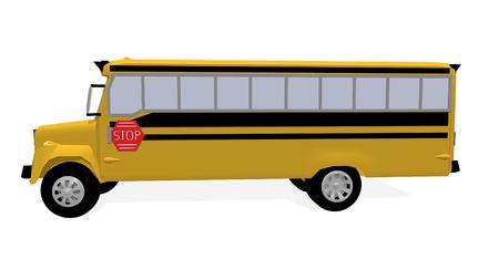 a 3d rendering of an american schoolbus photo