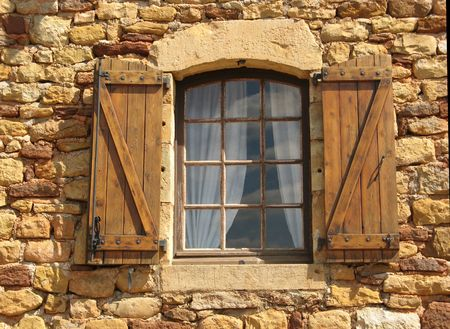 a window of a stony house