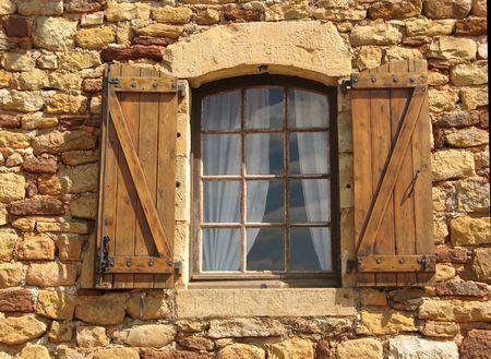 a window of a stony house