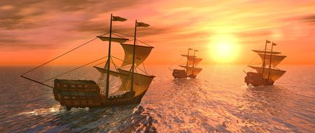 a 3d rendering of three vessels at sunset Stock Photo