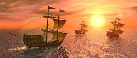 caravelle: un rendu 3D de trois navires au coucher du soleil  Banque d'images