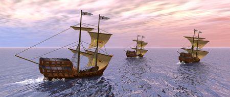 caravelle: un rendu 3D de trois navires dans la matin�e