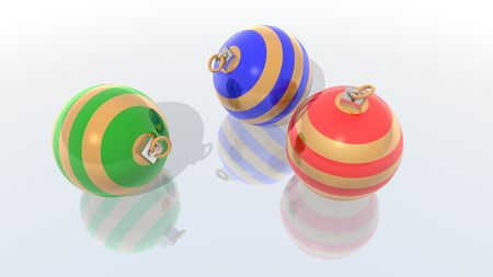 a 3d render of three christmas balls Stock Photo - 1962481