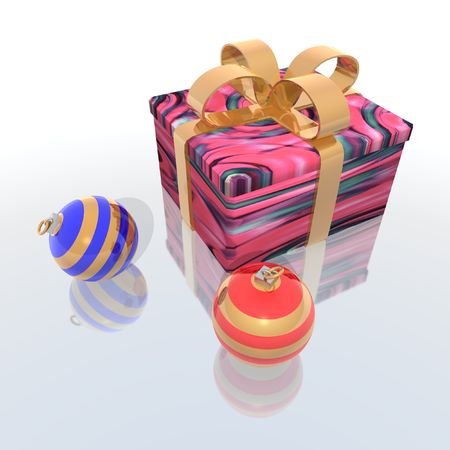 a 3d render of christmas gift and balls Stock Photo - 1976225