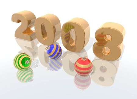a 3d render to celebrate the new year 2008 Stock Photo - 1976226