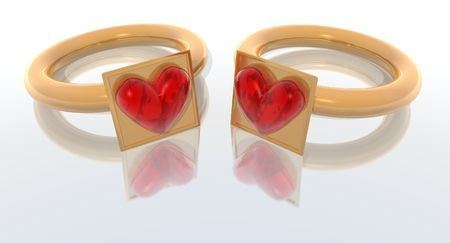 bridegrooms: a 3d render of two rings for lovers