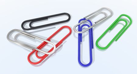organized: a 3d render of colored paper clips