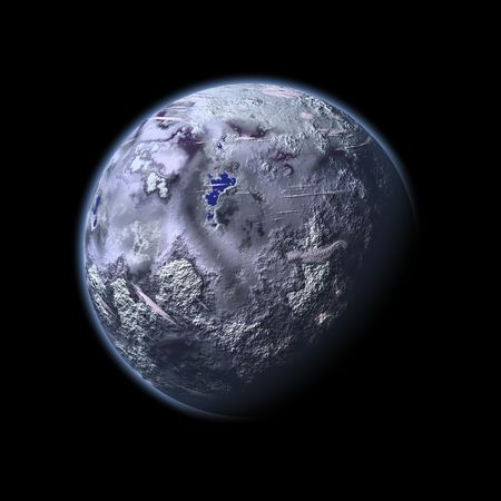 an image of an ice planet in the space photo