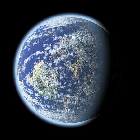 an image of a blue planet in the space photo