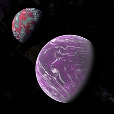 an image of two planets in the space photo