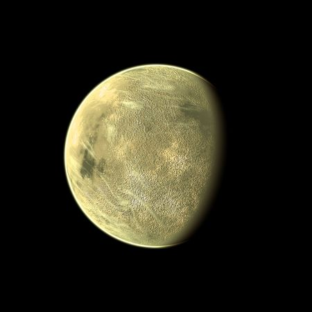 celestial body: an image of a yellow planet in the space Stock Photo