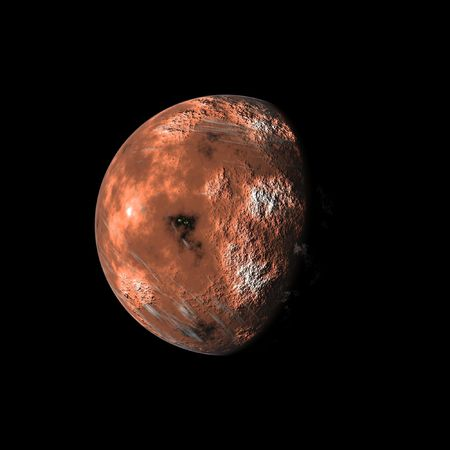 an image of a red planet in the space photo