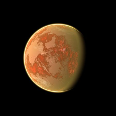 an image of an orange planet in the space photo