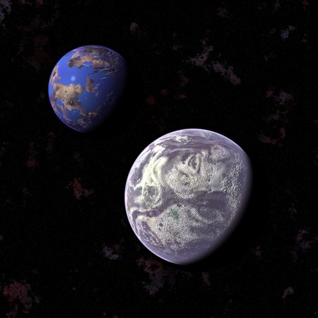 an image of two colored planets in the space photo