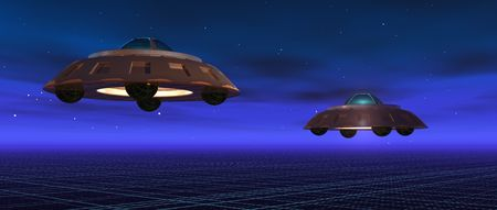 a 3d render of two flying saucers in a blue night