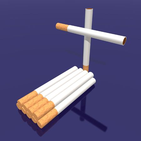 vices: a 3d render of a tomb made with cigarettes Stock Photo