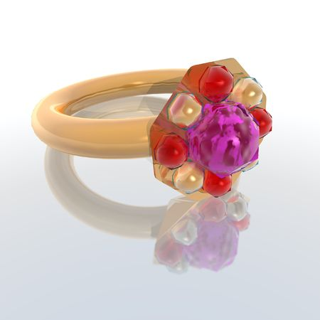 bridegrooms: a 3d render of a golden ring Stock Photo