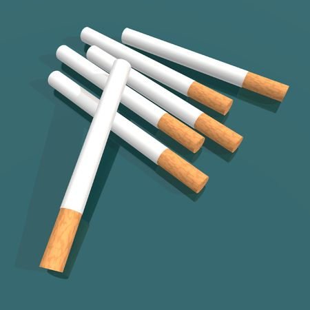 decease: a 3d render of some cigarettes over a green background