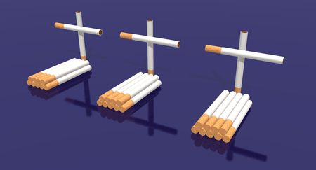 jailhouse: a 3d render of three tombs made with cigarettes Stock Photo