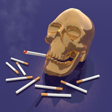 decease: a 3d render of a skull smoking a cigarette Stock Photo