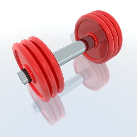 kilos: a 3d render of a red barbell with reflection Stock Photo