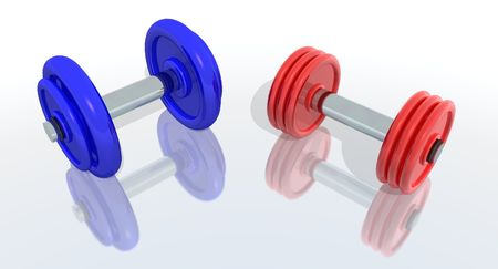 kilos: a 3d render of red and blue barbells with reflection