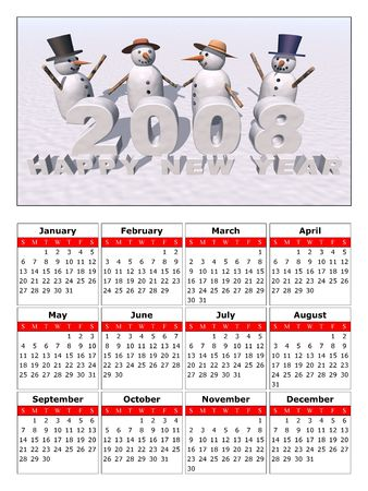a calendar to celebrate the new year 2008 photo