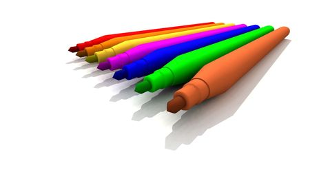 illustrates: a 3d render of some colored colored felt-tips Stock Photo