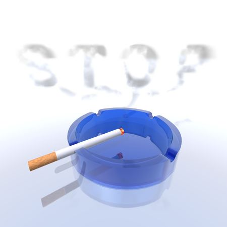 vices: a 3d render of a cigarette and a blue ashtray