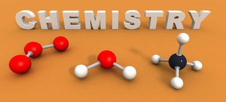 a 3d render to illustrate the word chemistry photo