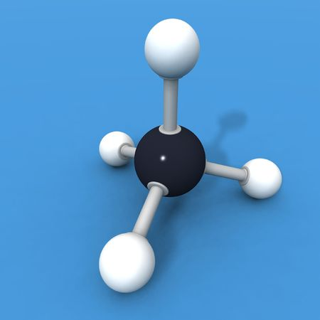 a 3d render of a molecule methane