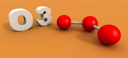 ozone: a 3d render of an ozone molecule Stock Photo