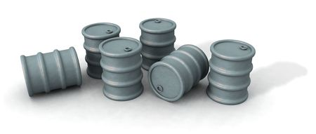 a 3d render of some oil barrels over a white background