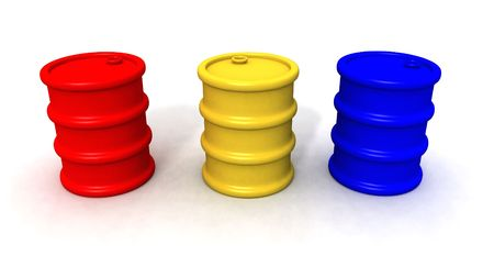 a 3d render of red,yellow and blue barrels Stock Photo - 2282392