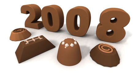 next day: a 3d chocolate render of the new year 2008 Stock Photo