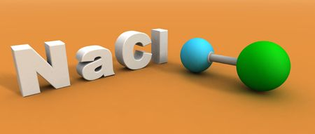 lewis: a 3d render of a sodium chloride molecule