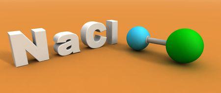 hacer un 3d de una mol�cula de cloruro de sodio  Foto de archivo - 2282401