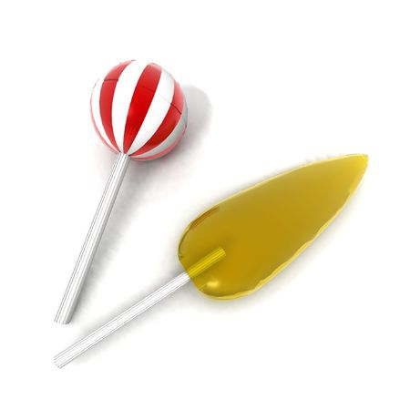 sugarplum: a 3d rendering of a yellow and a red and white striped lollipops
