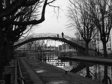 Paris - footbridge on the Saint Martin Channel Stock Photo
