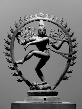 black and white image of a dancing shiva sculpture