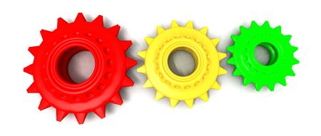 pulley: a 3d render of a few colored gears